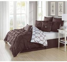 Go from romantic to chic in seconds simply by flipping this Delia Stripe Printed 3 Duvet Set. This duvet set features a seductive pintuck detailin. Queen Comforter Sets, Duvet Sets, Duvet Cover Sets, Brown Comforter, Black Bedding, Pillow Shams, Pillows, Thing 1, Linen Bedroom