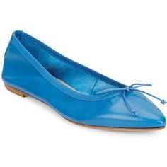 Saks Fifth Avenue Made in Italy Leather Point Toe Flats ($60) ❤ liked on Polyvore featuring shoes, flats, jean, leather pointed toe flats, saks fifth avenue shoes, pointed toe shoes, pointy toe shoes and bow flat shoes