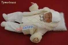 Okolicznościowe z tkaniny sztruksowej ubranko na chrzest dla niemowlaka