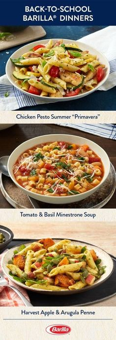 If you're busy with back-to-school schedules, save this pin for family dinner ideas. Full of flavorful dishes featuring Tomato & Basil and Traditional Basil Pesto sauces, you'll be set for your weeknight meals.