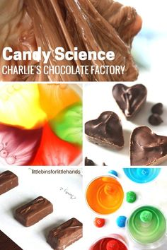 Candy science activities to celebrate Charlie and the Chocolate Factory! Make a candy lab and make chocolate slime, have a taste test, dissolve skittles, try floating m's, pop rocks sound science, and more fun candy activities for both math and science activities. Preschool and kindergarten candy activities.