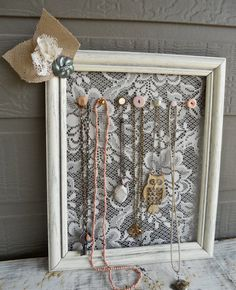 I wonder if I could figure out another use for this beautiful lace filled frame. Maybe at a wedding.
