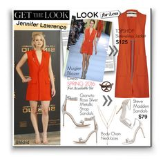 """""""Get the Look - Jennifer Lawrence"""" by watereverysunday ❤ liked on Polyvore featuring Thierry Mugler, Gianvito Rossi, Topshop, Steve Madden and Vince Camuto"""