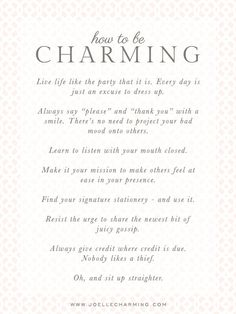 how to be charming