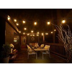 Backyard String Lights, Indoor String Lights, Backyard Lighting, Porch Lighting, Lights On Deck, Outdoor String Lighting, Cafe Lighting, Restaurant Lighting, Back Deck Decorating