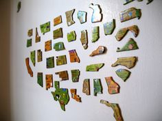 Puzzle -This is a great idea. I loved having maps on the walls of my childhood home. What a great way to turn something helpful into a fun wall decoration! Magnetic Paint, Magnetic Strips, Map Wall Decor, Wall Mural, Room Decor, Wall Art, Map Puzzle, Travel Themes, Kid Spaces