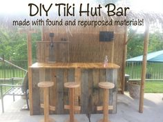 pallet tiki bars | DIY Tiki Hut Bar made with found and repurposed materials!