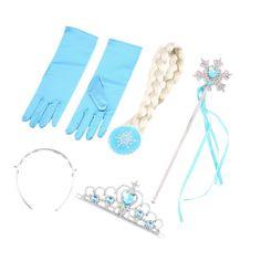 4Pcs/set Princess Elsa Anna Hair Accessories Crown Wig Magic Wand Glove for Kids Party Fast
