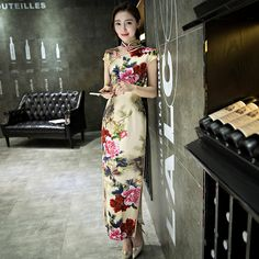 a69c8e1d6 Woman 2017 Sexy Gorgeous New Silk Chinese Traditional Peony Floral Vintage  Qipao Party Dresses Cheongsam Slim Long Qi Pao Dress-in Cheongsams from  Novelty ...