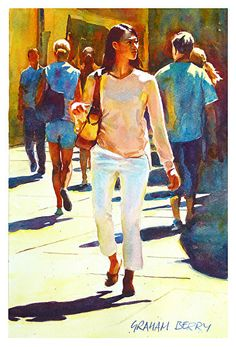 "Woman in the crowd by Graham Berry Watercolor ~ 15"" x 10"""