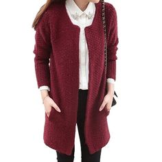 #Women Loose Mohair Long Knitted Cardigan Sweater Coat With Two Side Pockets - DELARIZ