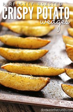 This easy recipe for crispy potato wedges comes out perfect every time, thanks to two simple little tricks. My family loves these, and at less than $1 for a batch, I'm happy to serve! Ideal for clean eating instead of fast food french fries! :: DontWastetheCrumbs.com