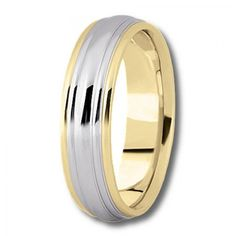 Womens Two Tone Wedding Ring with High Polish and Tiered Design - $338.64 - Available in All White, Yellow, or Two-Tone 14K or 18K Gold - Free Shipping, 30 Day Return Policy, Made in the USA