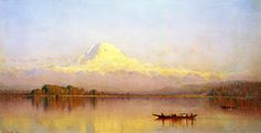 Sanford Robinson Gifford (1823-80), Mount Rainier Bay of Tacoma (1875). The second-generation Hudson River School painter Sanford Robinson Gifford built a reputation as a master of light and atmosphere. An admirer of Turner since his boyhood, Gifford studied and copied the master's work in London's National Gallery and visited Turner's champion, John Ruskin, to discuss his work.