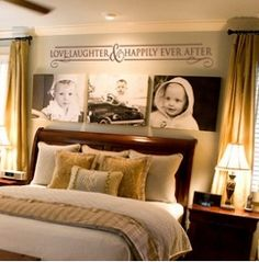 Love the pictures above master bed w/ decals.