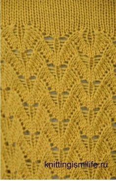 Красивый узор для женского вязания Knitting Charts, Lace Knitting, Knitting Stitches, Crochet Motif, Crochet Baby, Knit Crochet, Stitch Patterns, Knitting Patterns, Knitting