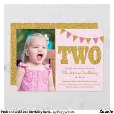 Pink and Gold 2nd Birthday Invitation with Photo Photo Birthday Invitations, Pink Invitations, Custom Invitations, Gold Birthday Party, Birthday Party Themes, Birthday Diy, Birthday Gifts, Glitter Photo, Photo Gold