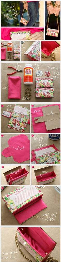 DIY: A cute purse out of a cardboard box and some Mod Podge ~ Interesting Easy Craft Ideas by nadia
