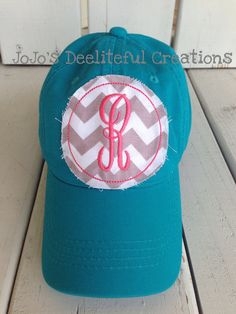 Personal Creations #Gifts  #Personalizedgifts Ladies Cute Monogrammed Hat - Raggy Patch - Personalized Preppy Cap - One Initial on Etsy, $17.00 - Great Personalized Gifts via- http://www.AmericasMall.com/personalcreations-gifts