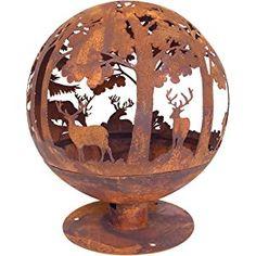 Esschert Design Fire Pit Laser Cut Portable Fireplace 57.5x57.5x66 cm Rust FF261
