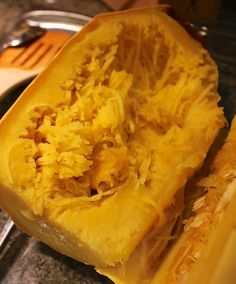 Baked #spaghetti squash makes such an easy healthy dinner. I like to top mine with a #vegan tempeh marinara sauce.