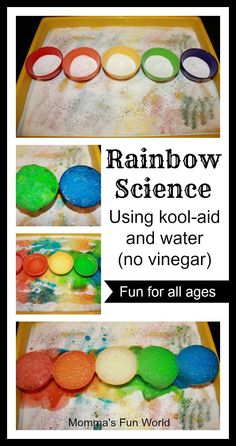 Rainbow Science for kids, using kool-aid and water. No vinegar