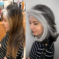 Some ladies have heavy grey around their front hair line only the same as this beautiful client of mine so just frame her face with silver… Pelo Color Plata, Grey Hair Transformation, Silver Hair Highlights, Grey Hair Inspiration, Gray Hair Growing Out, Silver Grey Hair, Long Gray Hair, Grey Hair Over 50, Dark Hair