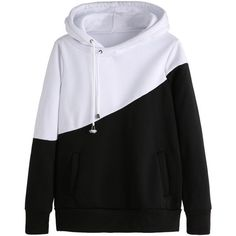 Color Block Hooded Sweatshirt With Pockets (8.745 CLP) ❤ liked on Polyvore featuring tops, hoodies, sweatshirts, jackets, black and white, long sleeve hoodies, long sleeve sweatshirts, pullover hoodie sweatshirt, color block hoodie and hooded pullover sweatshirt