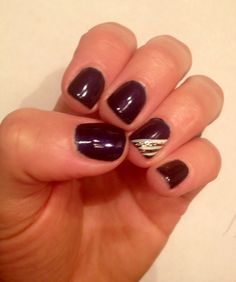 """""""Russian Navy"""" gel nail with ring finger art"""
