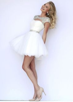 #Ivory Silver Cap Sleeves Beaded Ruched Sparkly Cocktail Dresses
