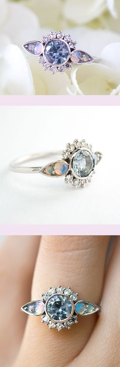 Snow Queen Sapphire, Opal, and Diamond engagement ring by S.Kind & Co. Ethically sourced Montana Sapphire, Australian Opal, and Reclaimed Diamonds.