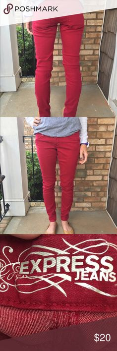 Express jeans 👖Zelda slim fit In excellent condition with no rips or stains. Cranberry colored Express jeans. Zelda slim fit, low rise. Cotton/poly blend. 31 inch inseam. Thanks for looking.💕 Express Jeans Skinny
