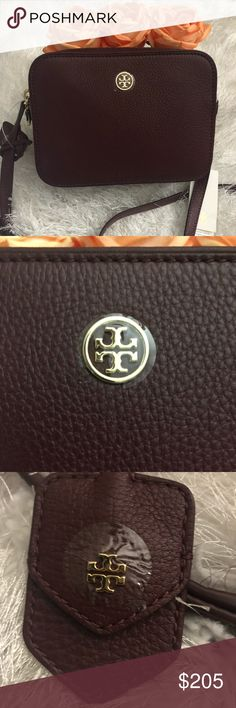 "NWT🍒TORY BURCH CROSSBODY BAG🍒 The epitome of chic, this pebbled double-zip crossbody is made of super soft, richly textured leather.   •one zippered pocket, two open •adjustable leather crossbody strap with a max drop of 23"" •in the color burgundy NO TRADES NO LOWBALL OFFERS AUTHENTIC Tory Burch Bags Crossbody Bags"