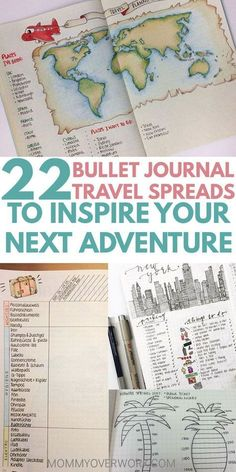 Is your goal to travel? Then you'll love these great BULLET JOURNAL TRAVEL log layout ideas and spreads. Let me take you on a journey from a bucket list wishlist, to an itinerary tracker and map page in your travelers notebook, to saving up the budget, to Bullet Journal Wishlist, Bullet Journal Doodles, Bullet Journal September, Bullet Journal Layout, Bullet Journals, Album Journal, Scrapbook Journal, Travel Scrapbook, Journal Prompts