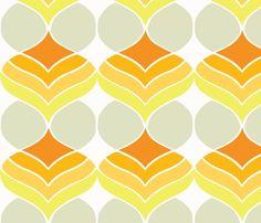 orange droplets fabric retro