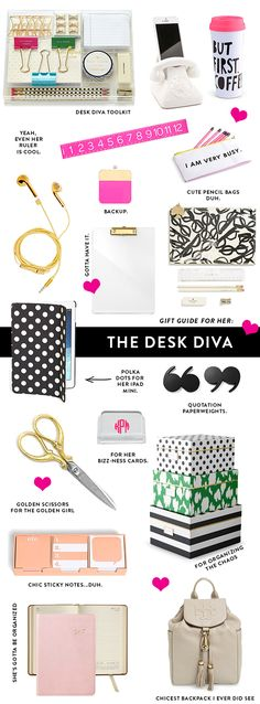 Great collection of desk and office assessories.  Love Kate Spade's black and white polka-dot iPad Air cover!