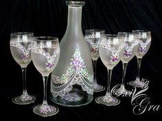 Svatební sada na víno * ručně malované sklo ♥