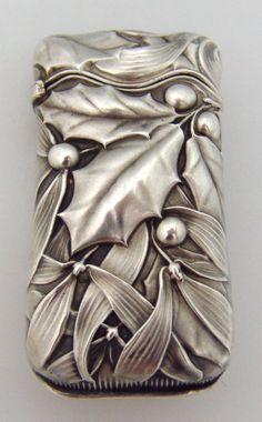 Holly and Mistletoe Match Safe Whiting Sterling Silver 1885