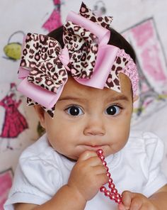 Items similar to baby hair bow  pink leopard hair Bow....baby bow...infant  hair bow...newborn headband 08a2ddb43450