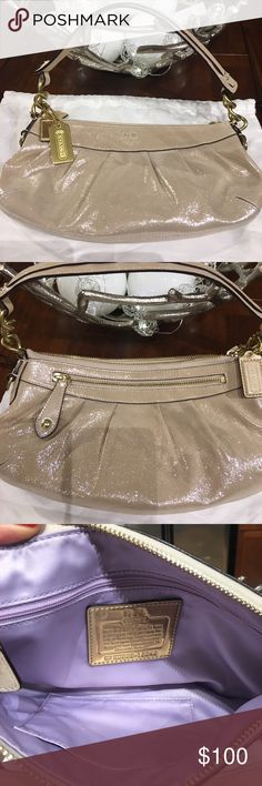 "💕Coach Leather New!! Beautiful Coach leather shoulder bag. Shimmery soft light gold color with purple satin lining. Gold tone hardware. Exterior & interior zip pocket. Fits right under shoulder perfect for night out. I removed the tags and never wore. Coach white satin dust bag included. Length: 12"". Height: 6"". Strap drop: 6.5"". Coach Bags Shoulder Bags"