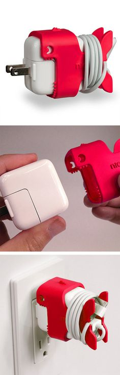 Red Nibbles // cable management for iPad... so cute! Nice! #product_design