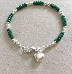 Emerald Heart Charm Bracelet, Sterling Silver Emerald Bracelet, Green Gemstone Jewellery Gift, May Birthstone Jewelry Birthday Present by MairiJewellery on Etsy