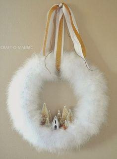Winter Wonderland Christmas Wreath : DIY Christmas Wreath using white feather boa. DIY Christmas Wreath using white feather boa. Wreath Crafts, Diy Wreath, Christmas Projects, Holiday Crafts, Decor Crafts, Cheap Holiday, Wreath Ideas, Christmas Ideas, Tulle Wreath