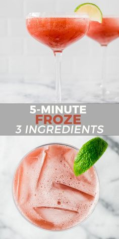 Frozé (frozen rosé) is the perfect patio drink to keep you cool! With only 3 ingredients, this drink is ready in no time! Vegetarian Recipes Easy, Good Healthy Recipes, Healthy Meal Prep, Quick Recipes, Fall Recipes, Summer Recipes, Holiday Recipes, Healthy Foods, Rose Drink