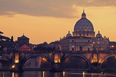 St Peters Basilica and the River Tiber, Rome, Italy