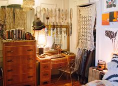 Bedroom,, eclectic mix, vintage furnishings,very  boho via: New York Fashion Designer, Gretchen Jones | Rue