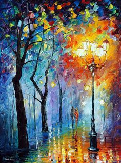"Oil panting on canvas ""Fog Of Love"" by Leonid Afremov #WednesdayWisdom"