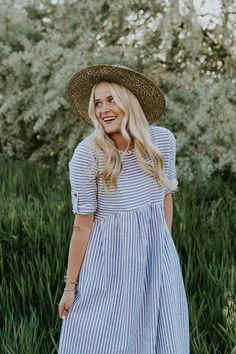 Blue and White Stripe Dress with Pockets   ROOLEE