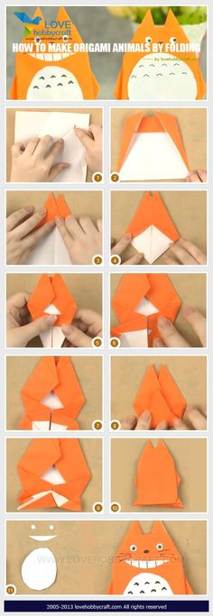 How to make origami animals by folding MF*** Totoro Origami Shapes, Origami And Kirigami, Origami Fish, Diy Origami, Oragami, How To Make Origami, Useful Origami, Origami Instructions, Origami Tutorial