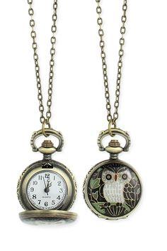 ZAD Enamel Owl Pocket Watch Necklace